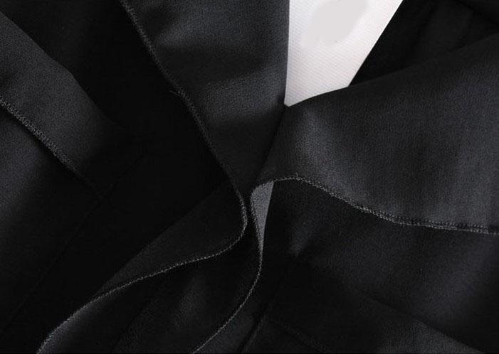 Black Long Sleeve Pockets Chiffon Blouse - Sheinside.com