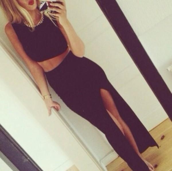 skirt black top tank top crop tops necklace gold shirt blouse tight black skirt