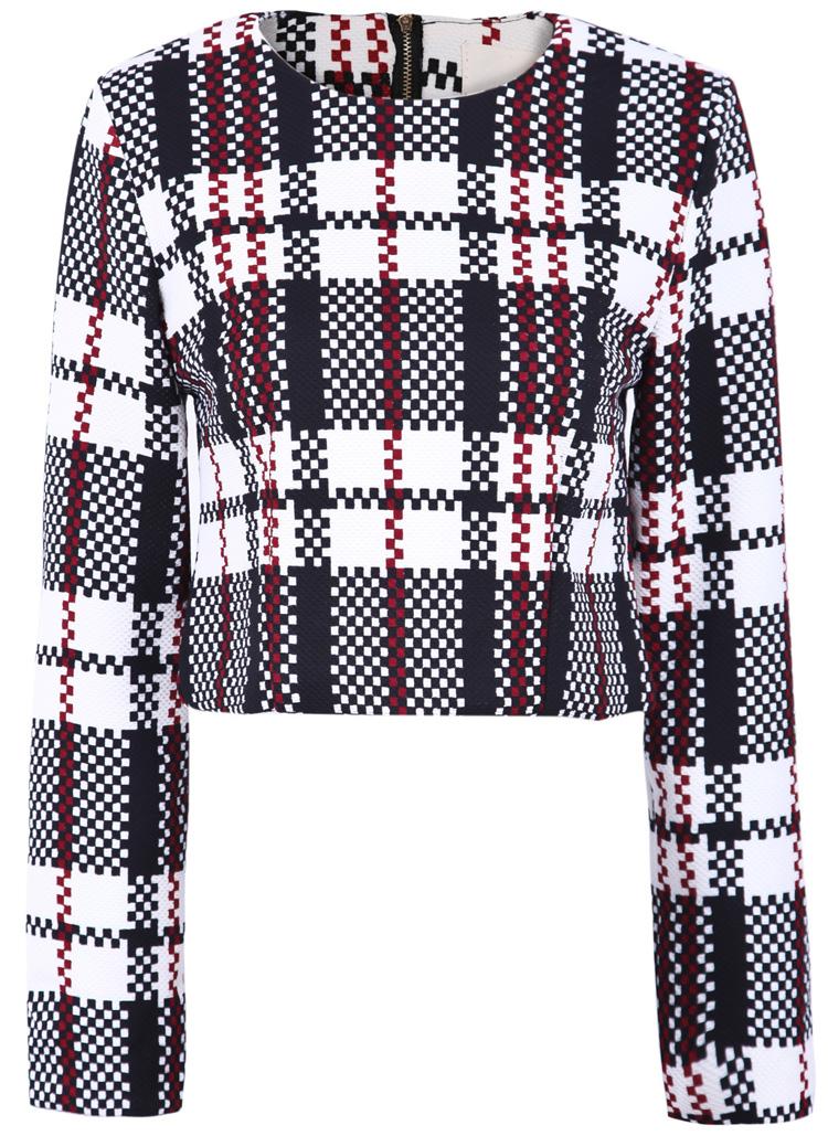 Black White Plaid Long Sleeve Crop Outerwear - Sheinside.com