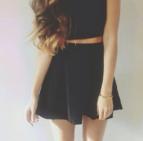 dress black tunic skirt classy high waisted short girly style jumpsuit bleu marine jupe haut top black skirt cute black top