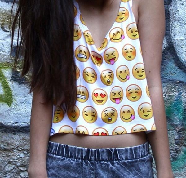 shirt shorts emoji print perf summer tank top emoji print cute top
