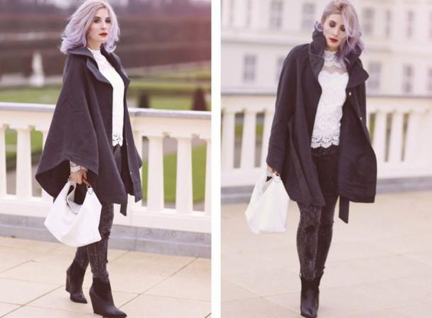 like a riot blogger lace top winter coat handbag grey jeans top bag jeans shoes