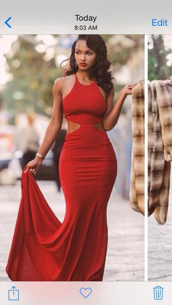 dress red halter neck long dress with cutouts