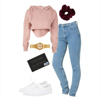 tommy hilfiger pink scrunchie hair accessory pants jeans american apparel white white shoes tennis shoes sweater back to school