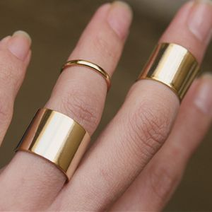 Mixed Wide Gold Knuckle Rings Set of 3 from Kellinsilver.com