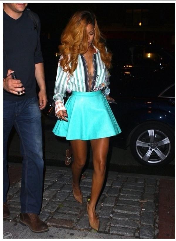 blouse rihanna shirt skirt