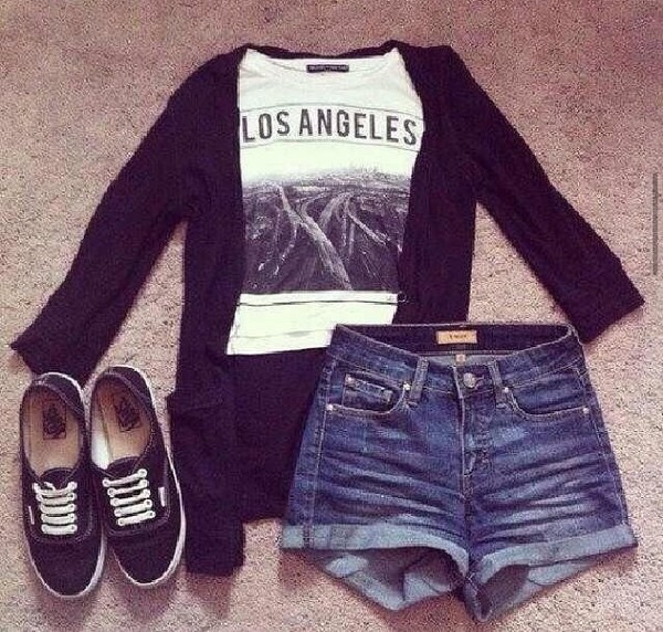 shirt t-shirt black cardigan los angeles white t-shirt High waisted shorts black vans shorts cardigan black white blue denim denim shorts sneakers black and white sneakers denim shorts summer outfits cute l.a. cuffed shorts l.a. style graphic tee white and black tshirt blouse