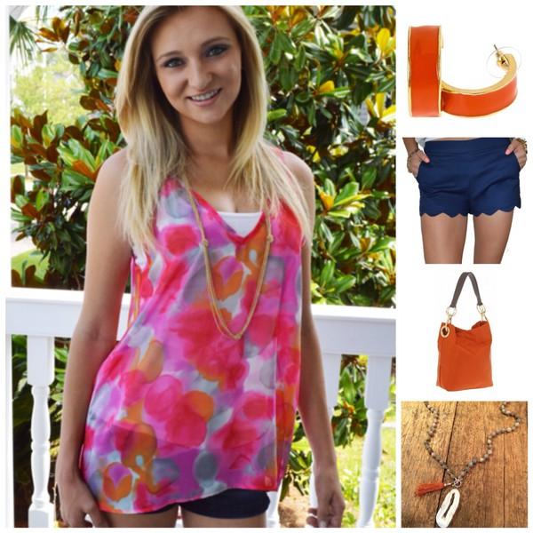 blouse way orange water color bright