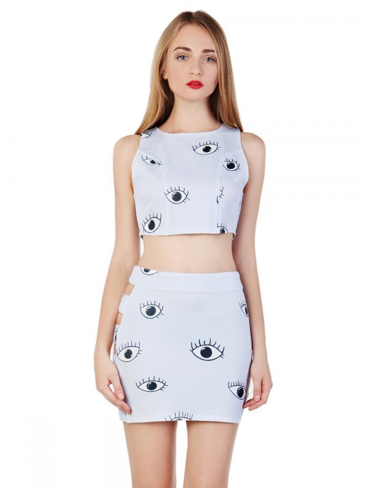 Choies Design Limited Blue Eyes Print Sleeveless Crop Top With High Waist Cut Out Pencil Skirt   Choies