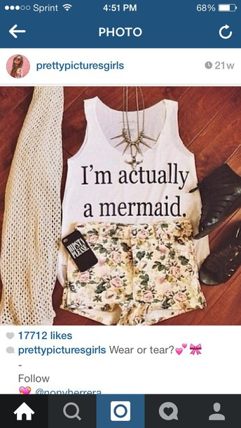 shirt i'm a mermaid shirts and the shorts and the cardigan