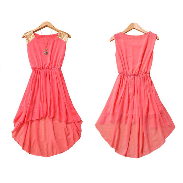 2014 New Womens Summer Paillette Sequins Decoration Nipped Waist Shoulder Chiffon Sleeveless Casual Mini Dress 3 Color-in Dresses from Apparel & Accessories on Aliexpress.com