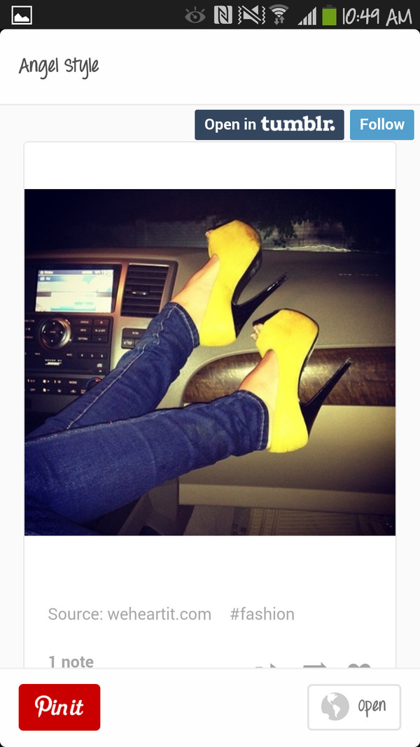 shoes yellow heels