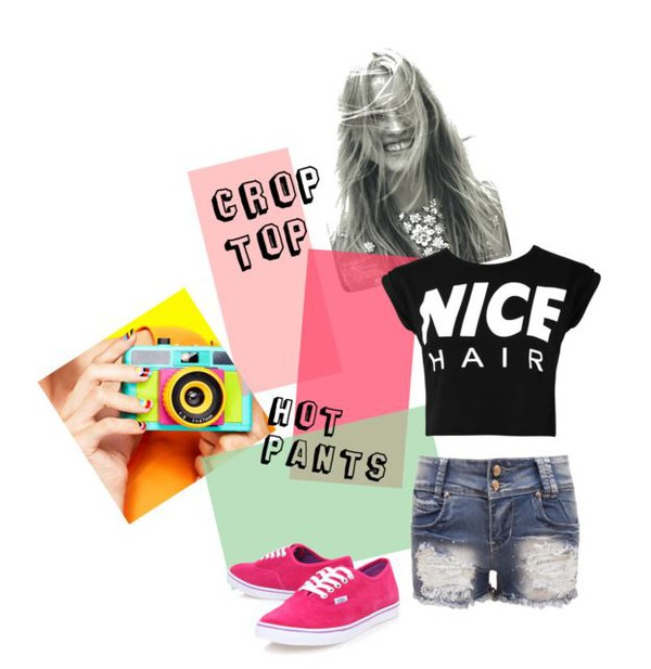 shorts crop tops crop tops top nice hair denim vans pink fuschia black festival summer summer outfits urban outfit Pin up tumblr polyvore hot pants coachella happiness polyvore