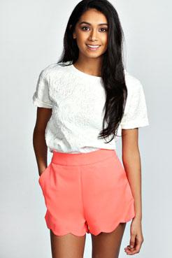 Tora Scalloped Hem Waisted Shorts at boohoo.com
