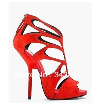 free shipping gz wedge pumps sky high 22cm heel height star 2013 newest multi block color ankle strap open nose women's shoes-in Pumps from Shoes on Aliexpress.com
