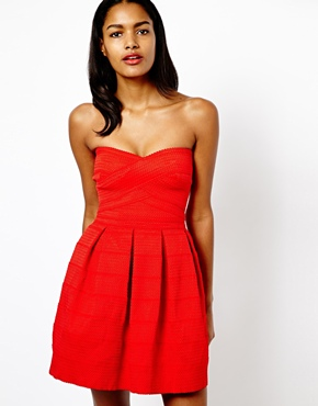 River Island | River Island Textured Strapless Prom Dress at ASOS