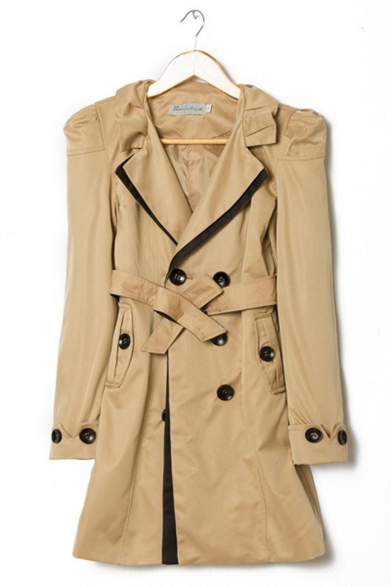 Slim Contrast Color Puff Sleeve Long Section Windbreaker Overcoat,Cheap in Wendybox.com