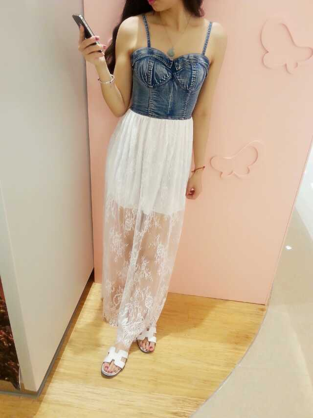 Sexy Summer Lace Dress With Denim Top 2014, Lace Dresses, Strapless Lace Dresses on Luulla