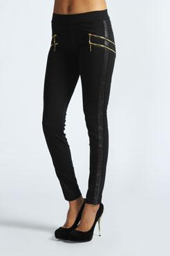Luana Double Side Zip Thick Treggings at boohoo.com