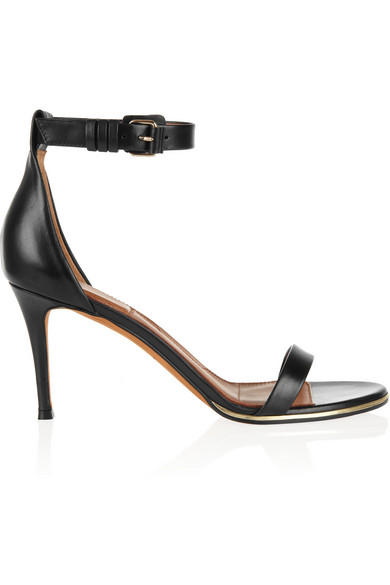 Givenchy|Gold line sandals in black leather|NET-A-PORTER.COM
