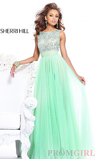 High Neck Evening Gowns, Prom Dresses with Open Back- PromGirl