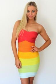 Scarlett Strapless Colorblock Bandage Dress