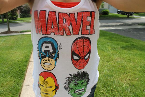 shirt marvel ironman hulk captain america spiderman top white singlet