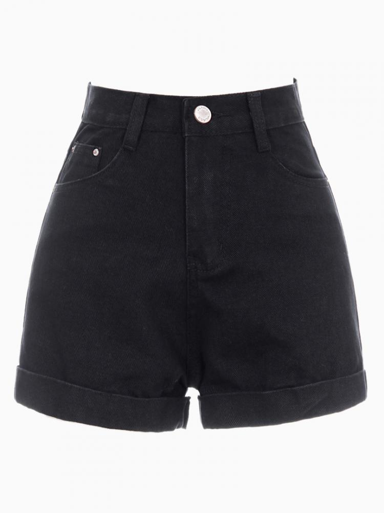 Black Denim Shorts With Roll Hem | Choies
