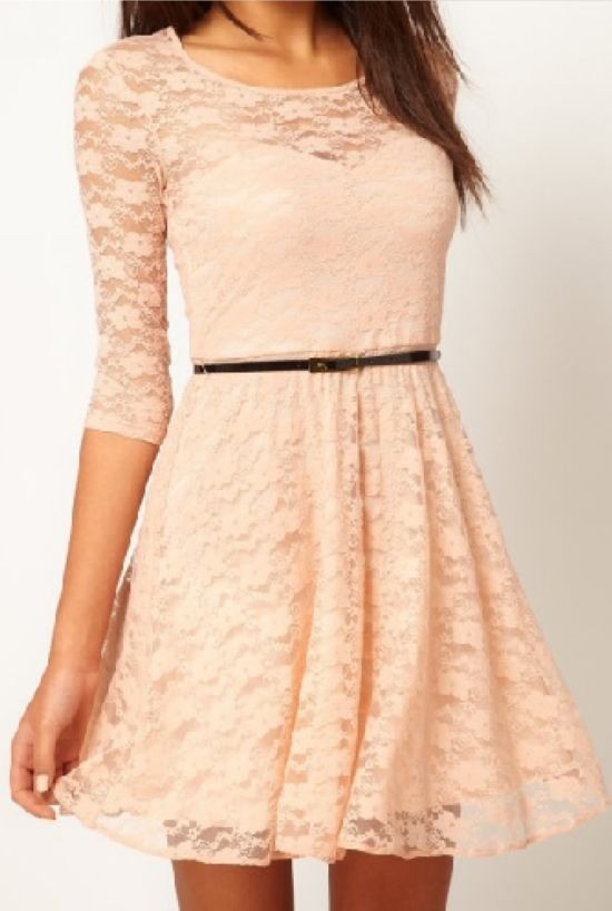 [S 1190] 2013 autumn new women's fashion Round neck sleeve lace Dress 4 color with Belt sexy Lace stitching hollow Dress-in Dresses from Apparel & Accessories on Aliexpress.com