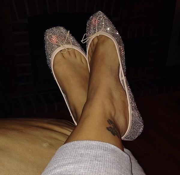 shoes ballet flats nude cyrstal bling flats mesh