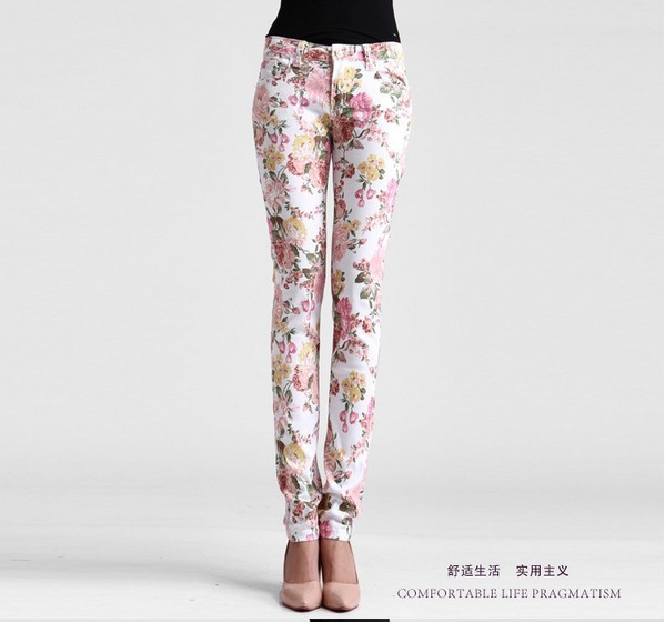 Free shipping 2013 women vintage Slim floral cotton jeans casual flower print hot skinny straight denim pencil pantsCZ9000-in Pants & Capris from Apparel & Accessories on Aliexpress.com