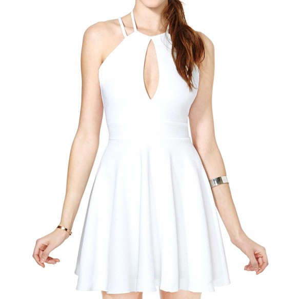Halter Skater Dress With Cross Strap Back at Style Moi