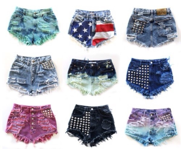 shorts pants jeans colourful u.s.a denim shorts denim shorts