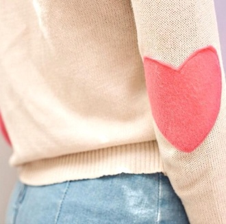 sweater beige patch heart elbow patches heart sweater