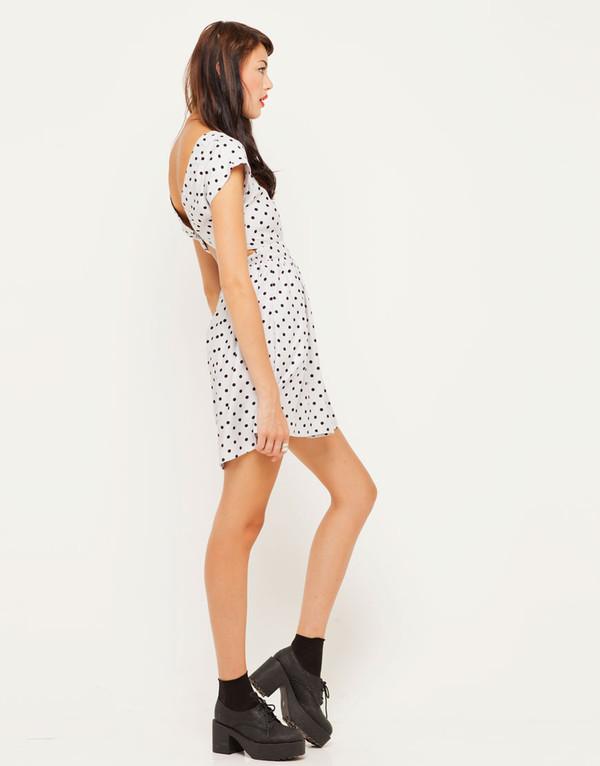 dress polka dots polka dot dress motel wispa cut out back dress in grey polka dot