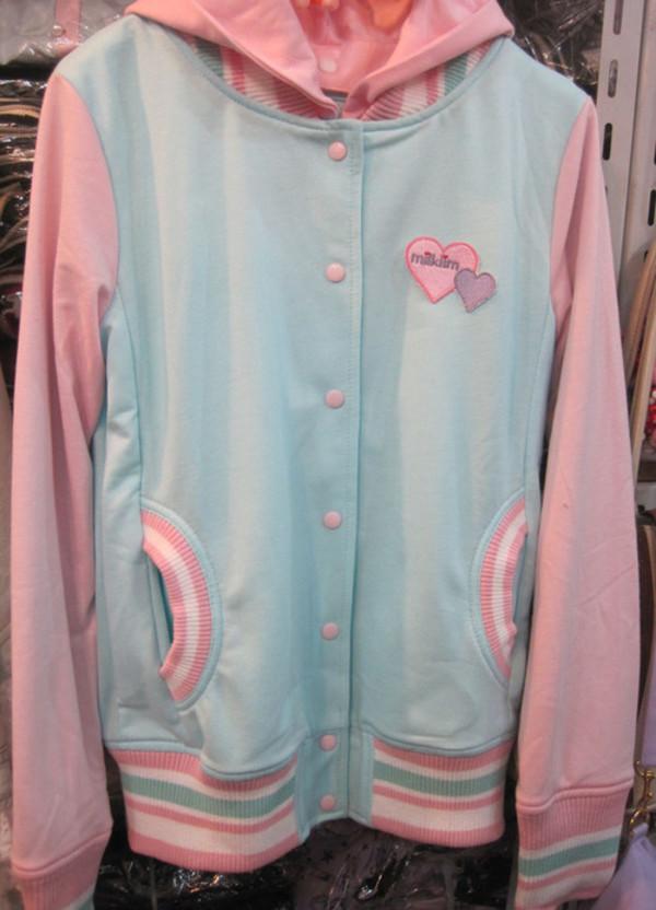 jacket pastel kawaii sportswear jock college japan letterman jacket amo candy stripper baseball jacket varsity jacket