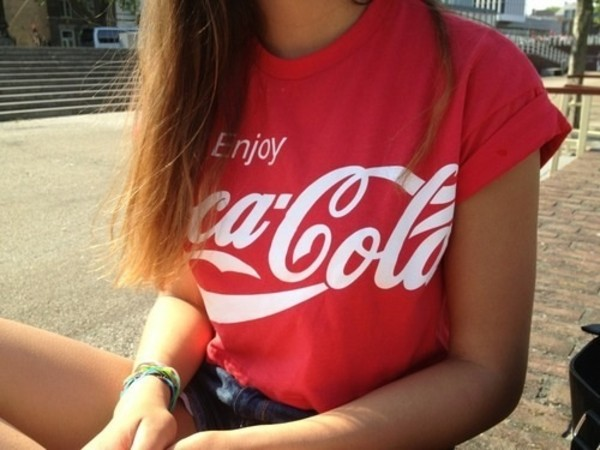 t-shirt coke red coca cola shirt coca-cola t-shirt t-shirt red t-shirt red top
