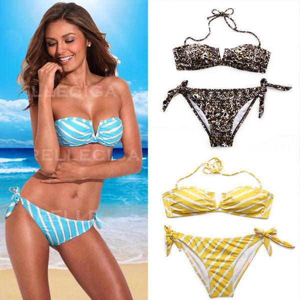 New Metallic Stripe Leopard Women Pad Halter Swimwear Bra Bandeau Pattern Bikini | eBay