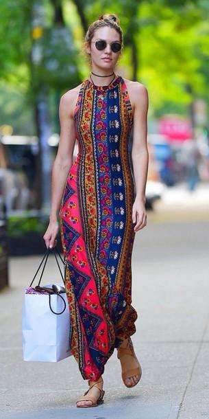 hippie victoria's secret model long dress boho patterned dress sandals