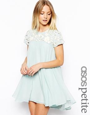 ASOS Petite   ASOS PETITE Exclusive Premium Floral Embellished Trapeze Dress at ASOS