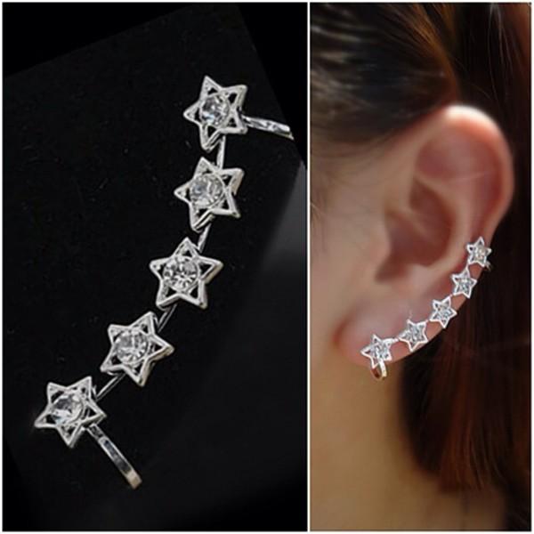jewels earrings ear cuff stars silver
