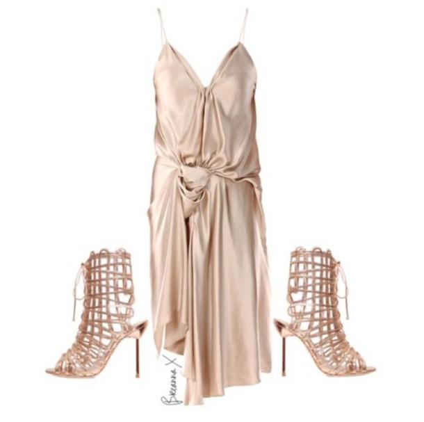 dress gold dress heels gold heels lanvin drape dress sophia webster shoes