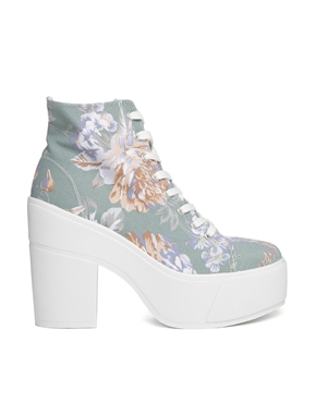 Shellys London   Shellys London Blue Floral Print Black Heeled Lace Up Ankle Boots at ASOS
