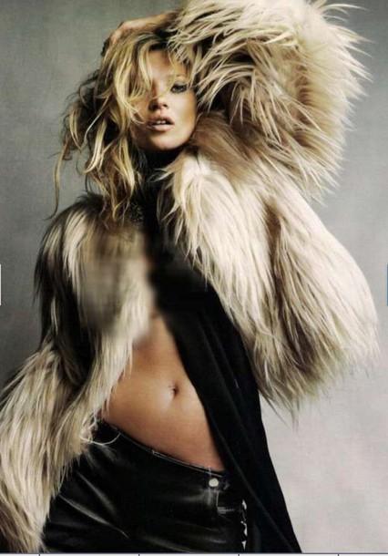 kate moss celebrity model luxury fur coat coat