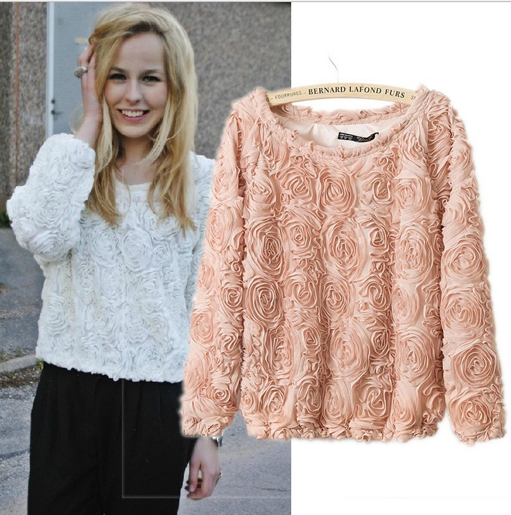 11 COLORS  Woman's Lace Blouse,Spring 3D Rose Top Flower Chiffon Shirt,Full Sleeve O Neck,free size-inBlouses & Shirts from Apparel & Accessories on Aliexpress.com