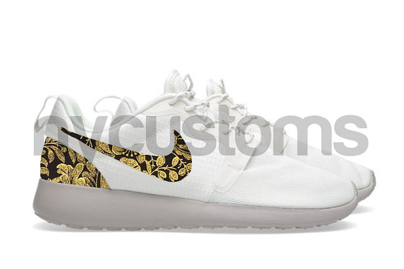 Nike Roshe Run Hyperfuse White Sail/Brown Metallic by NYCustoms