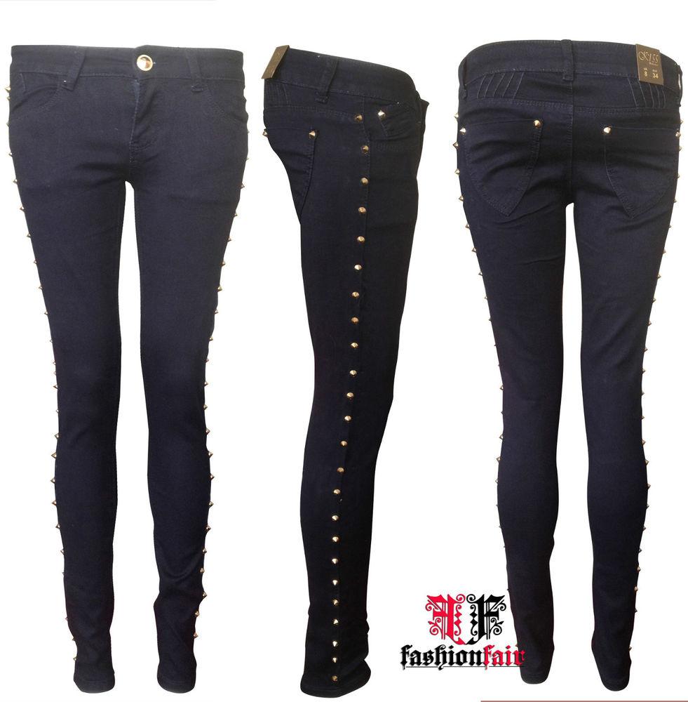 Brand New Ladies Side Gold Stud Spike Skinny Slim Fit Denim Jeans 6 8 10 12 | eBay