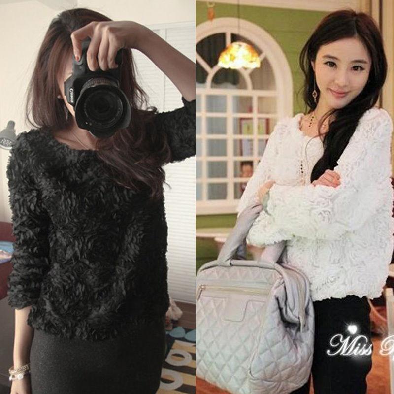Sexy Women OL Girls 3D Rose Flower Mesh Pullover Shirt Tops Party Sweet Sweater | eBay