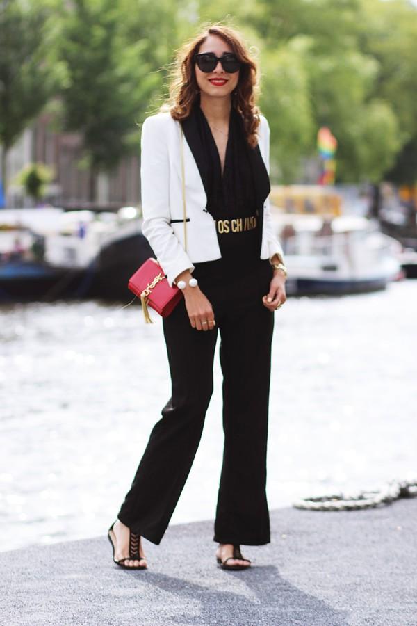 preppy fashionist sunglasses jumpsuit belt shoes jacket bag