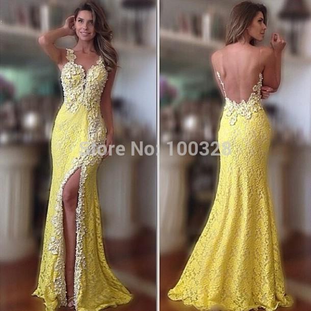 dress yellow yellow dress lace prom dress lace dress mermaid prom dress mermaid